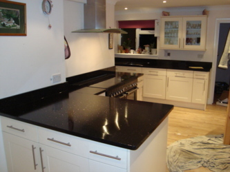 Star Galaxy granite kitchen makeover. New tops, sink and hob. Bordon Hampshire.