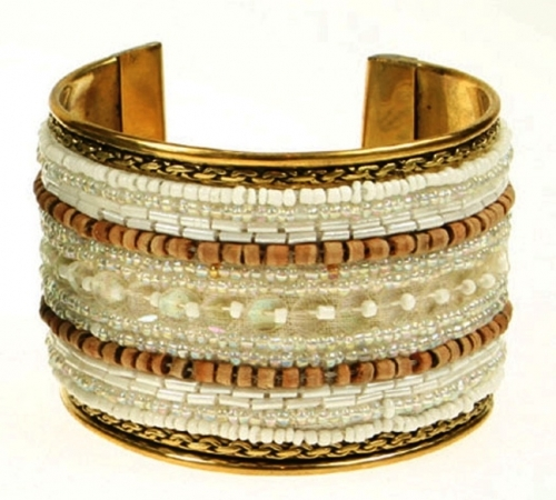 Brass Bangle With White And Wooden Beads
