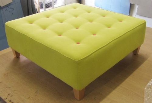 Zest Pink Buttoned ottoman with pink buttons