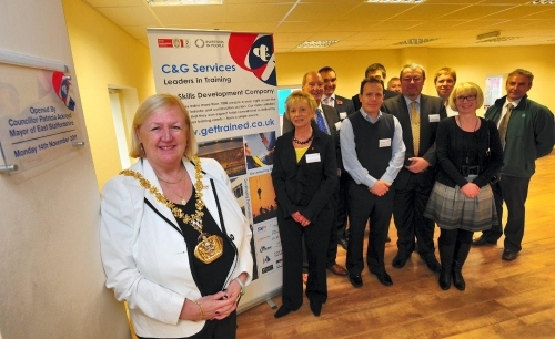 Burton Opening:Patricia Ackroyd Mayor of East Staffordshire officially opening the new Burton Training Centre