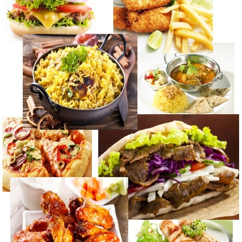 Variety of delicious takeaway food