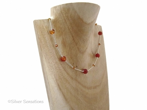 Unique Sparkly Swarovski Crystals  Orange Agate Necklace With Sterling Silver Tubes and Clasp