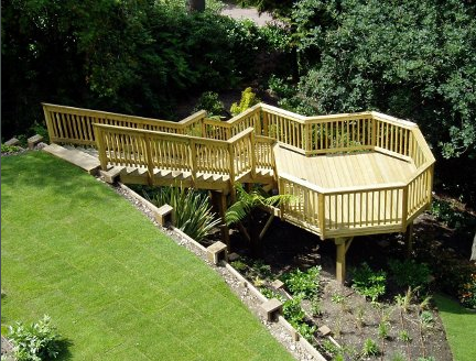 Raised timber decking: pressure treated softwood timber