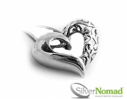 925 Sterling Silver Twin Heart Pendant by Silver Nomad jewellery UK