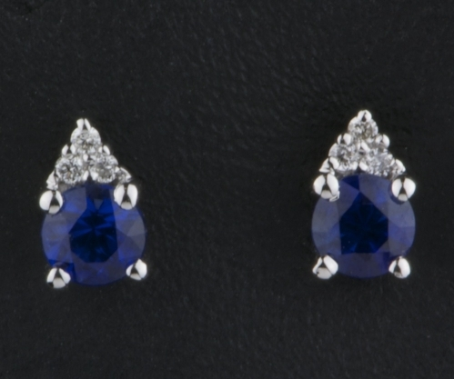 Sapphire & Diamond Earrings 18 ct Gold