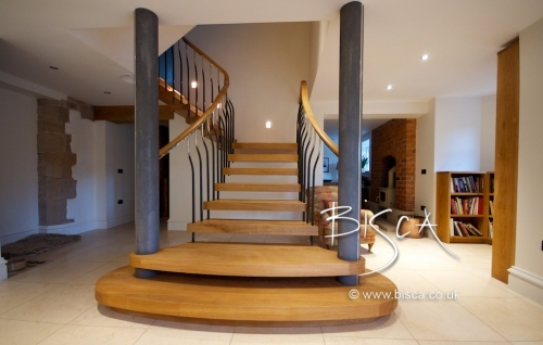 Bisca Oak Staircase 3340 - Oak and Forged Steel