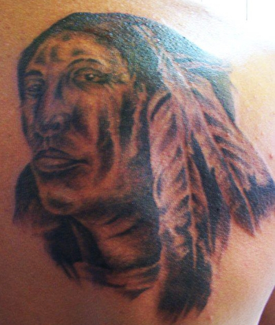 West Coast Tattoos' (no outline) Black & Grey work by Blan. Native Indian.