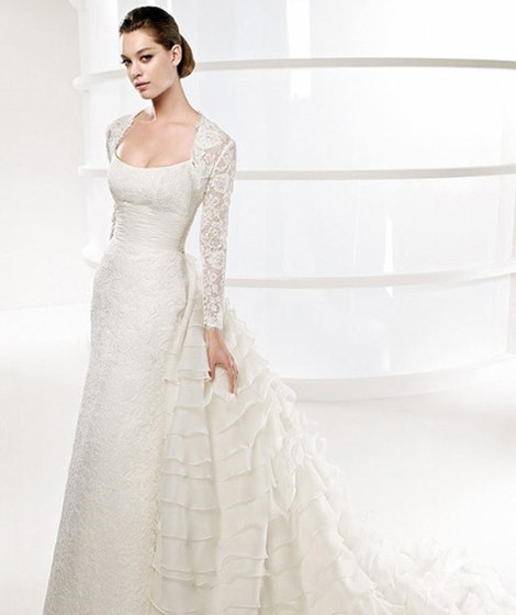 A-line Chapel Train white Lace Wedding Dress with Full Sleeve Length Lace Jacket