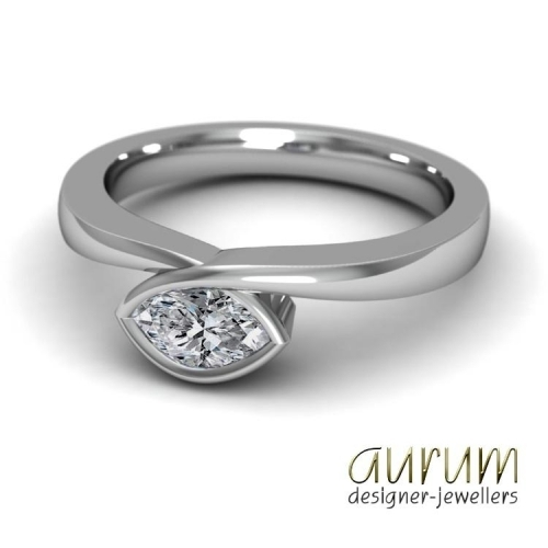 Infinity engagement ring in platinum with a small marquise diamond