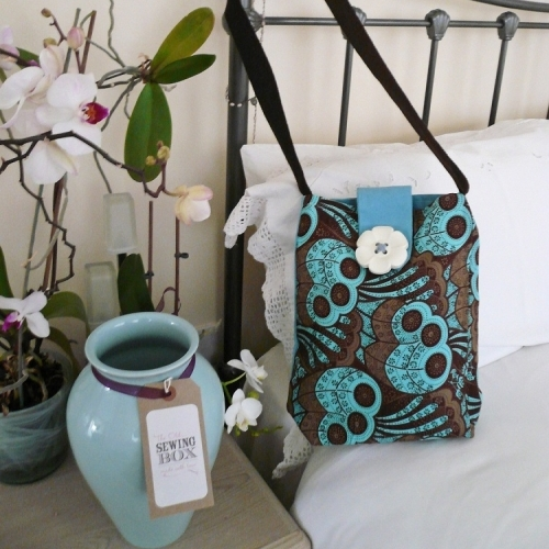 Handmade Unique Messenger Style Handbag in Turquoise Blue and Deep Brown, Paisley Print