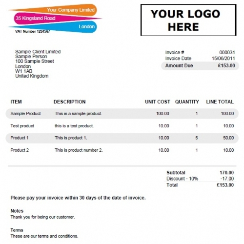 Invoice Template Colourful