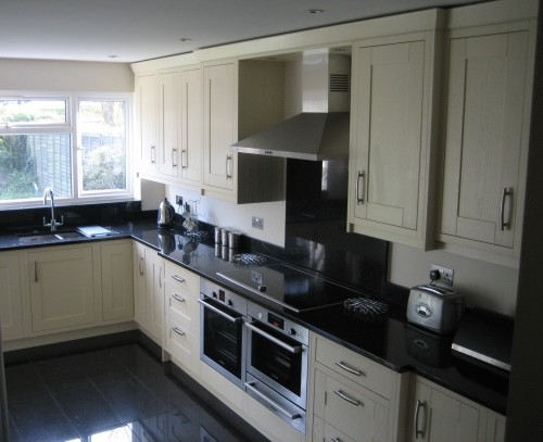 Granite worktops and floor tiles with full kitchen design and project management for Mr Brymer
