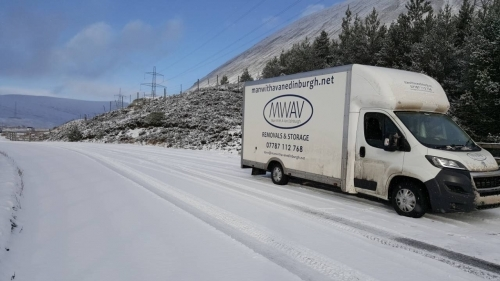 Removals Inverness to Edinburgh in the snow, by Man with a van Edinburgh Ltd