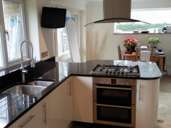 New absolute black kitchen granite worktops in Farnham , Surrey.