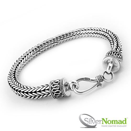 925 Sterling Silver Nomad Round Dragon Bone Weave Bracelet