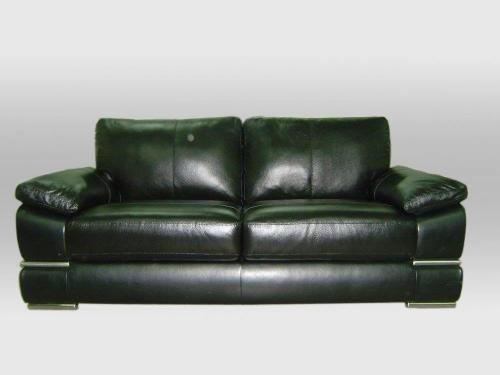 Primo 3-Seater plus 2-Seater Leather Sofa Set Italian Black Red Ivory