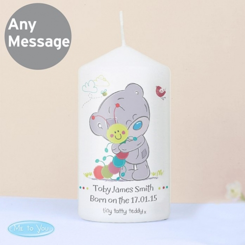 Personalised tiny tatty teddy cuddle bug candle.