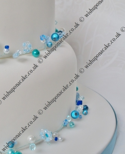 Blue Crystals Wedding Cake