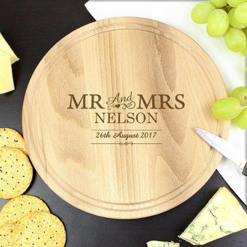 Personalised mr and mrs chopping board.
