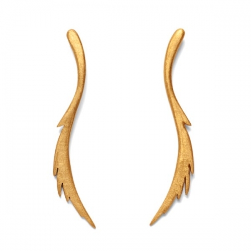 Gold Feather Curve Earrings by De Anna Kiernan