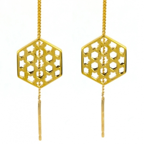 Gold Promise Lattice Thread Through Earrings by Laura Gravestock