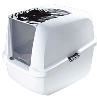 Catit Jumbo White Tiger Hooded Cat Litter Box