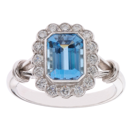 Aquamarine and Diamond Ring, hand-made in Platinum