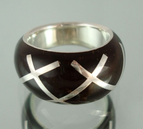 "Handmade Silver Rainforest Ring ""Crosshatch"""