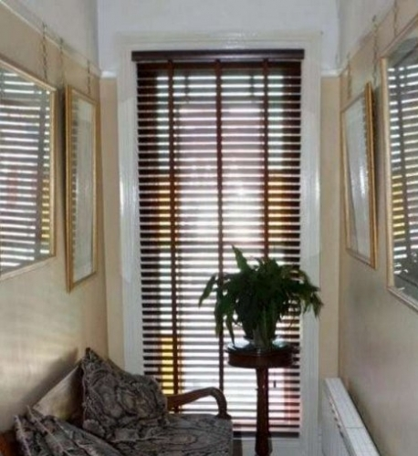 Made to measure dark Wooden Venetians With Tape finish matches furniture in hallway in Worthing, West Sussex