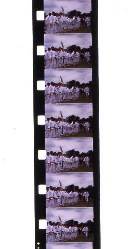 Super8mm cine film, note smaller sprocket holes & larger image area