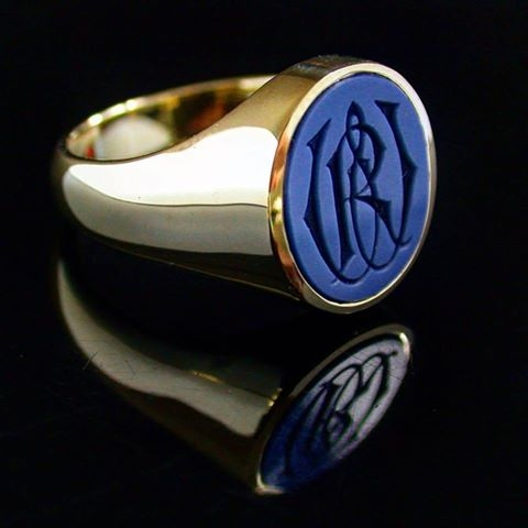 Blue Sardonyx Gemstone signet ring with hand engraved monogram