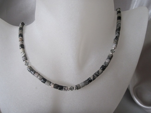 Black & Grey Crazy Lace Agate, Swarovski Crystals & Sterling Silver Necklace - SSN0143