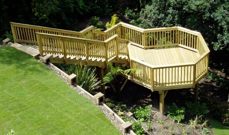 Raised pressure treated decking timber