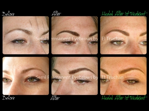 Semi Permanent Eyebrows Before - After - Healed By El Truchan CPCP @ Perfect Definition