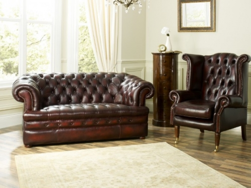 Baron 2 seater and Scroll Wing Chair