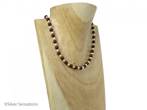 Burgundy Pearls Necklace