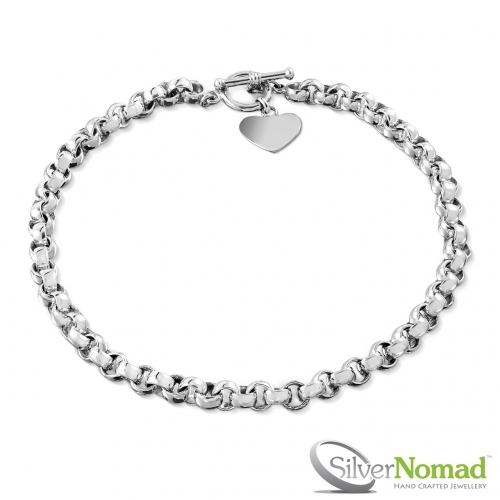 925 Sterling Silver Nomad Belcher Heart Charm Chain by Silver Nomad Jewellery UK