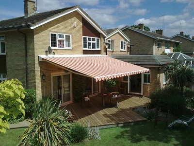 Patio Awnings (pictured awning is 6.5m wide with a 4m projection).