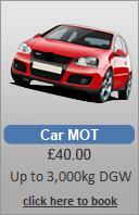 One of the views seen on our on-line real time MOT booking service. Car, Van & 4x4.
