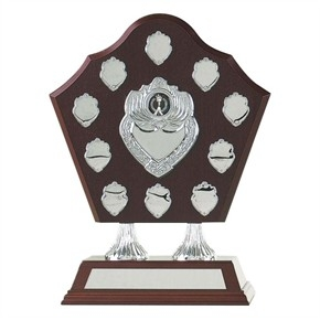 Wood Record Shield Award With Centre Shield Engraved