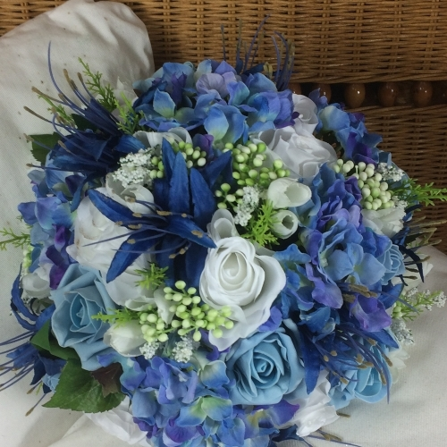 Blue And White Bridal bouquet using artificial flowers