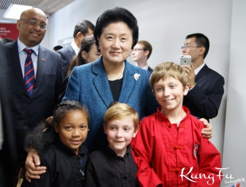 Kung Fu Schools at the opening of Confucius Institute TCM at London South Bank University, this is our students with the Vice Premiere of China Madame Liu Yandong