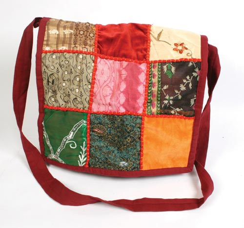 Recycled Patchwork Squares Shoulder Bagulder Bag, Dark Red