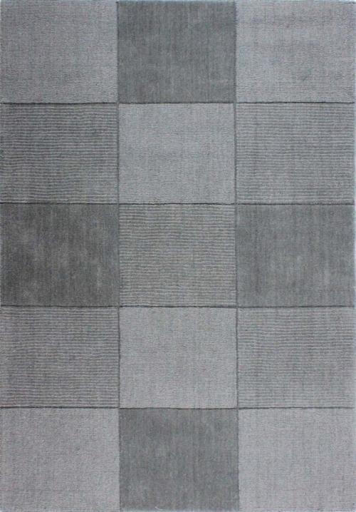 Wool Squares Light Grey Rug