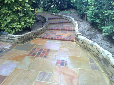 Mixed Indian Sandstone and Brick paving for Sunken Garden