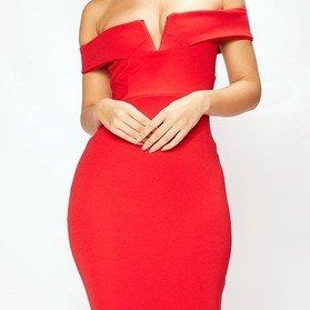 Sexy V-Front Bardot Bodycon Dress