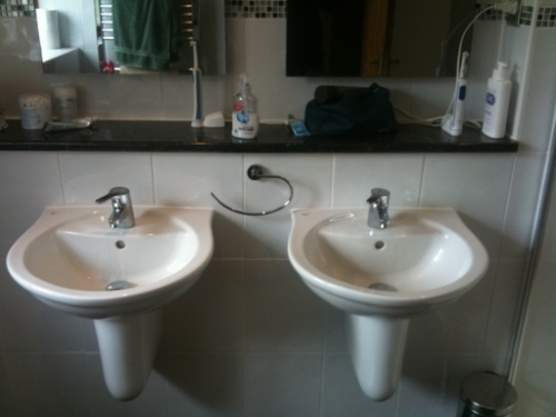 hung off the wall basins