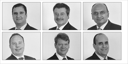 The Board of Directors from left to right. Top Row: George Palos - MD, Clive Morley, Hari Hirani. Bottom Row: Jason Kerr, Christopher Shawcross, Michael Palos.