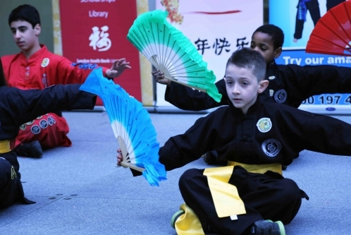 Fan Dance Performance at the 2013 Chinese New year Celebration Whitgift Centre, Croydon.