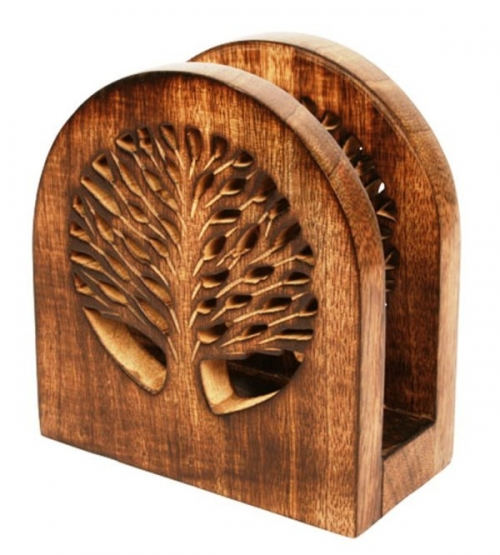 Mango Wood Letter / Envelope Holder, Tree Of Life Carvings
